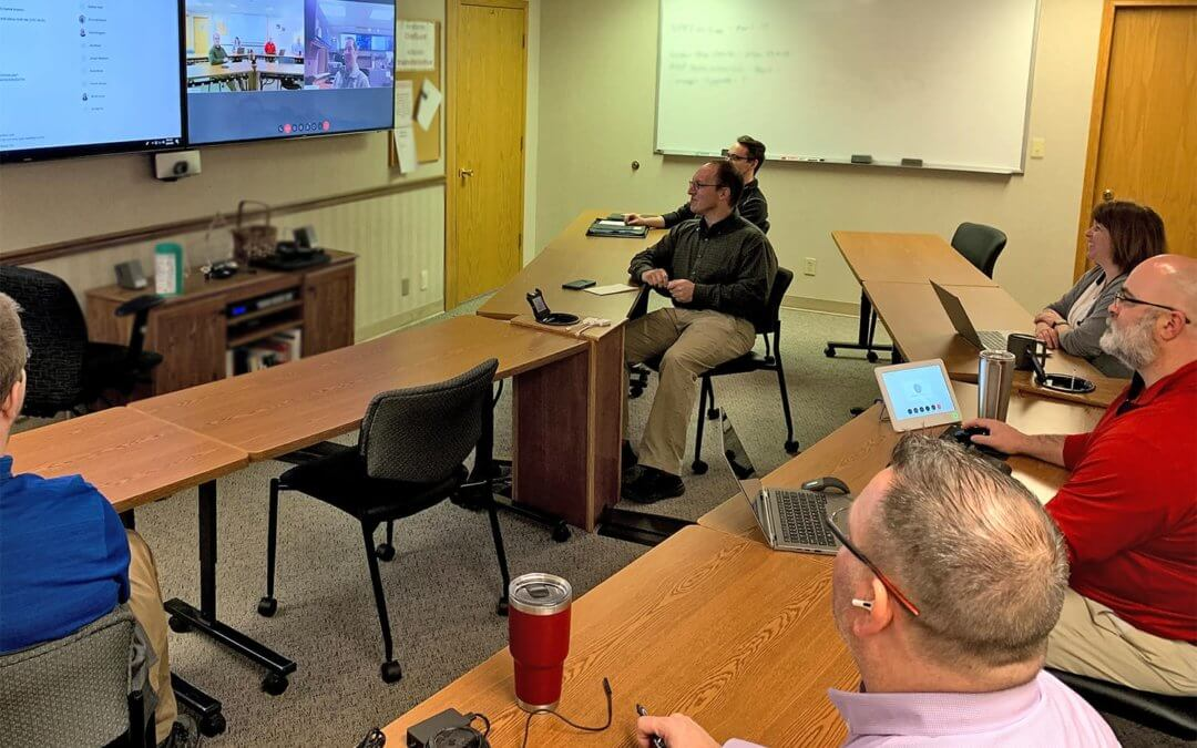 Chief employees having virtual meeting